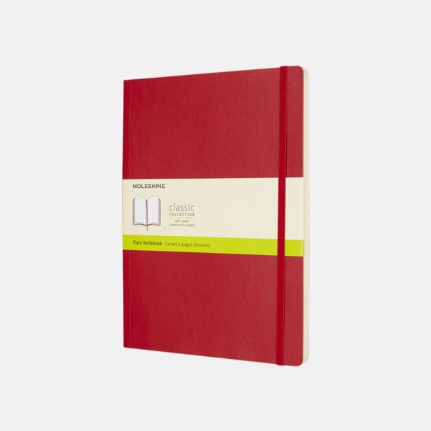 Scarlet Red (plain) Moleskine extra stora, mjuka notisböcker i 4 utföranden med reklamtryck