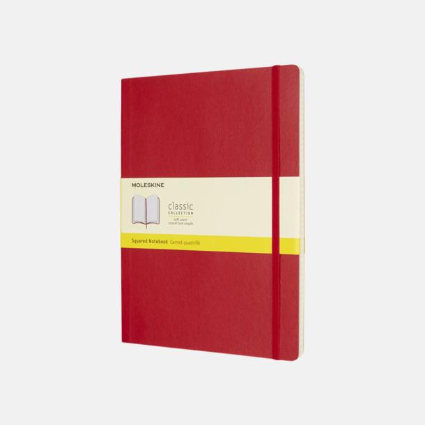 Scarlet Red (squared) Moleskine extra stora, mjuka notisböcker i 4 utföranden med reklamtryck