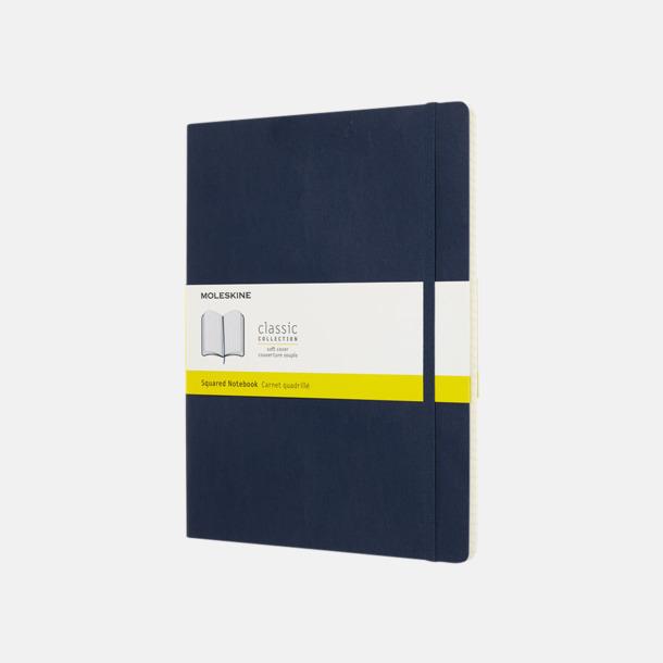 Sapphire (squared) Moleskine extra stora, mjuka notisböcker i 4 utföranden med reklamtryck