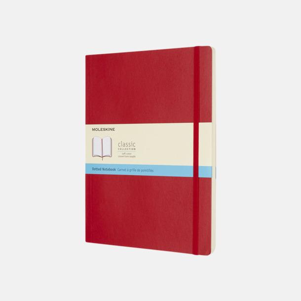 Scarlet Red (dotted) Moleskine extra stora, mjuka notisböcker i 4 utföranden med reklamtryck