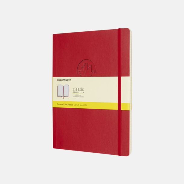 Med prägling Moleskine extra stora, mjuka notisböcker i 4 utföranden med reklamtryck