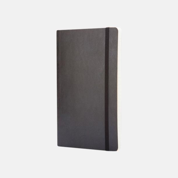 Svart (ruled, squared, dotted) Moleskine mjuka notisböcker i 4 utföranden med reklamtryck