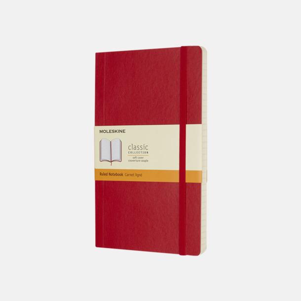 Scarlet Red (ruled) Moleskine mjuka notisböcker i 4 utföranden med reklamtryck