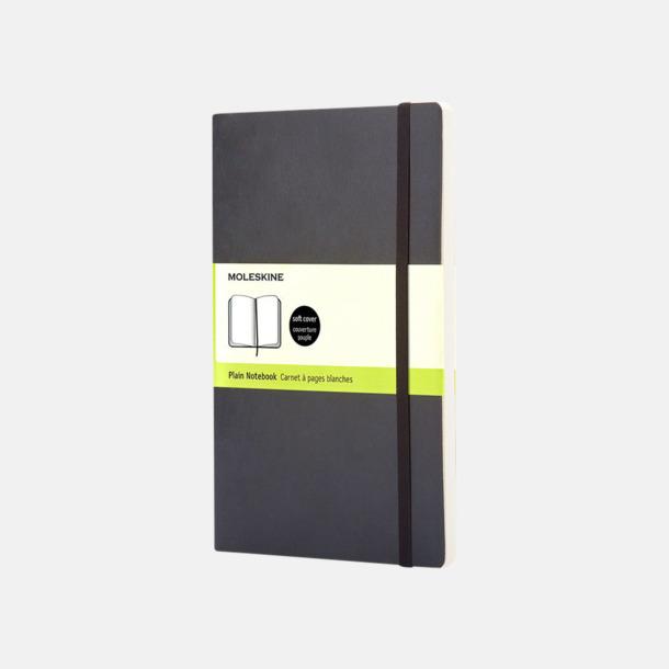 Svart (plain) Moleskine mjuka notisböcker i 4 utföranden med reklamtryck