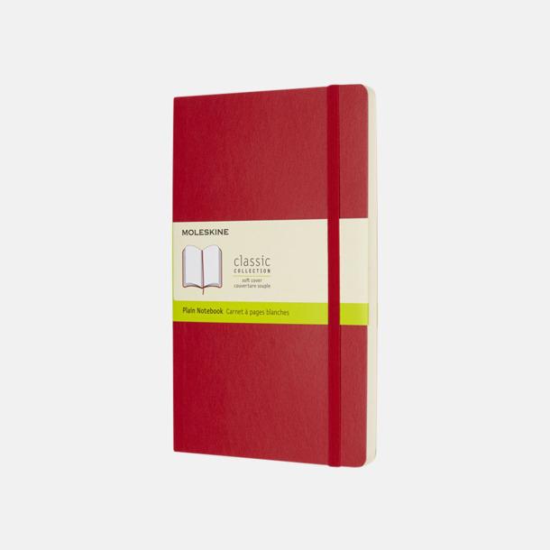 Scarlet Red (plain) Moleskine mjuka notisböcker i 4 utföranden med reklamtryck