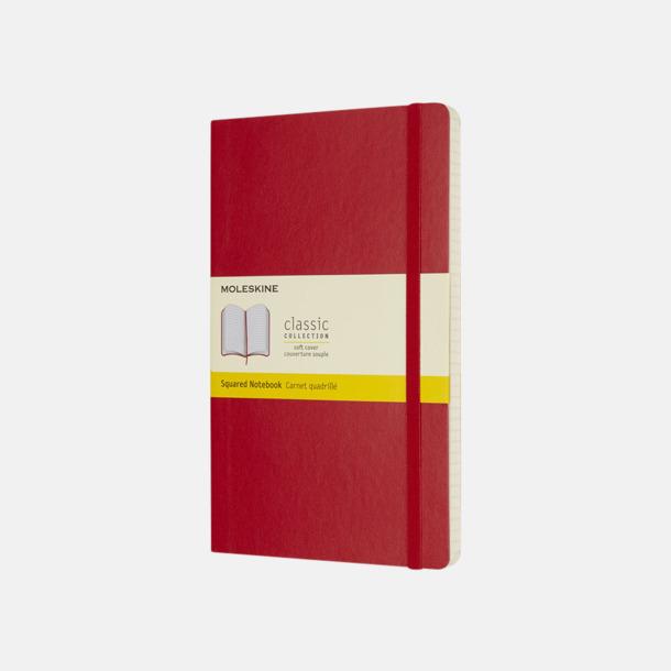 Scarlet Red (squared) Moleskine mjuka notisböcker i 4 utföranden med reklamtryck