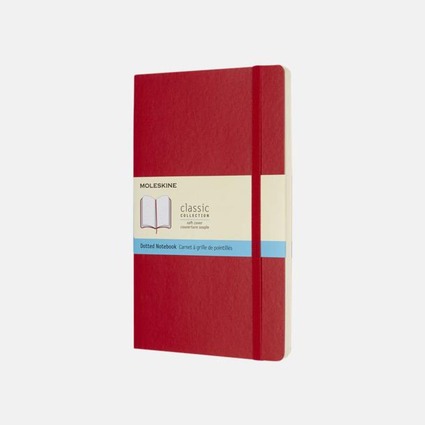 Scarlet Red (dotted) Moleskine mjuka notisböcker i 4 utföranden med reklamtryck