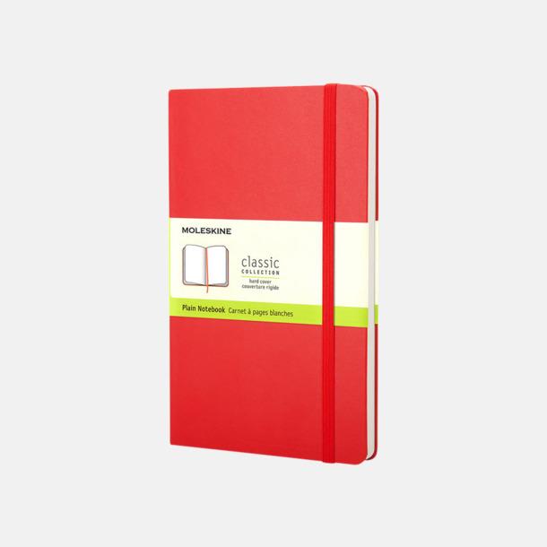 Scarlet Red (plain) Moleskines mindre (ca A6) anteckningsböcker med reklamtryck