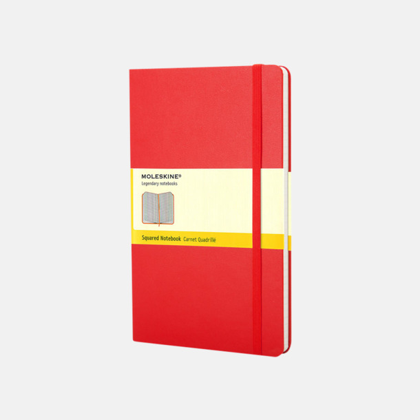Scarlet Red (squared) Moleskines mindre (ca A6) anteckningsböcker med reklamtryck