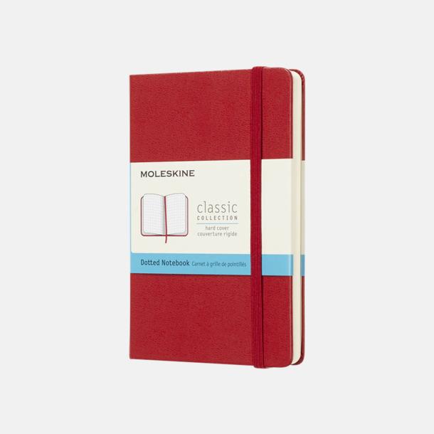 Scarlet Red (dotted) Moleskines mindre (ca A6) anteckningsböcker med reklamtryck