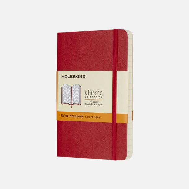 Scarlet Red (ruled) Moleskines mjuka anteckningsböcker i mindre format (ca A6) - med reklamtryck