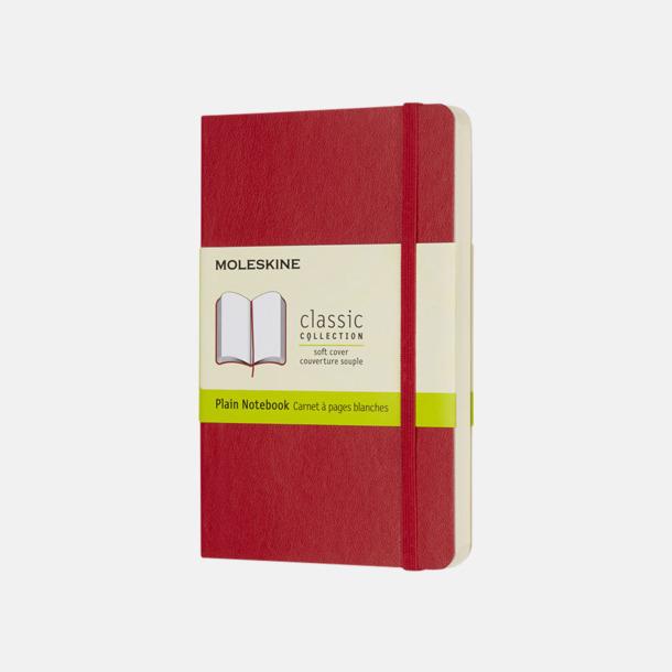 Scarlet Red (plain) Moleskines mjuka anteckningsböcker i mindre format (ca A6) - med reklamtryck