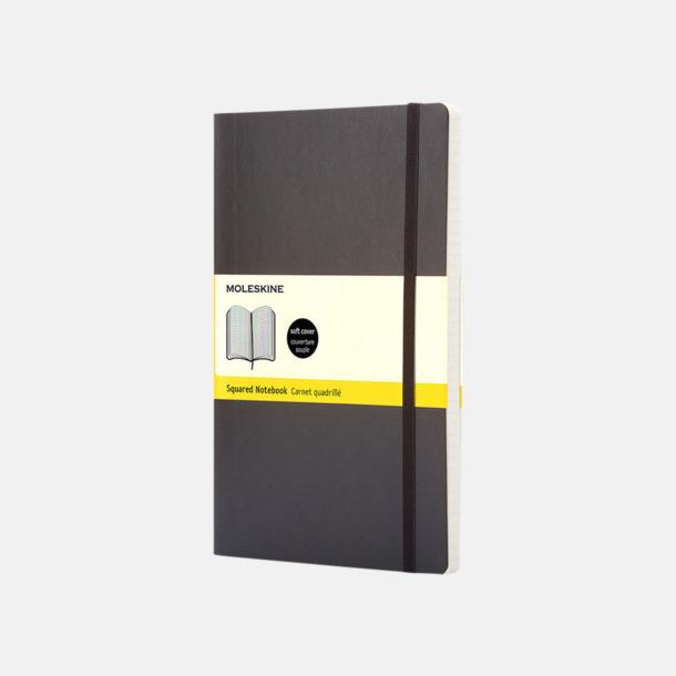 Svart (squared) Moleskines mjuka anteckningsböcker i mindre format (ca A6) - med reklamtryck