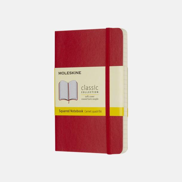 Scarlet Red (squared) Moleskines mjuka anteckningsböcker i mindre format (ca A6) - med reklamtryck
