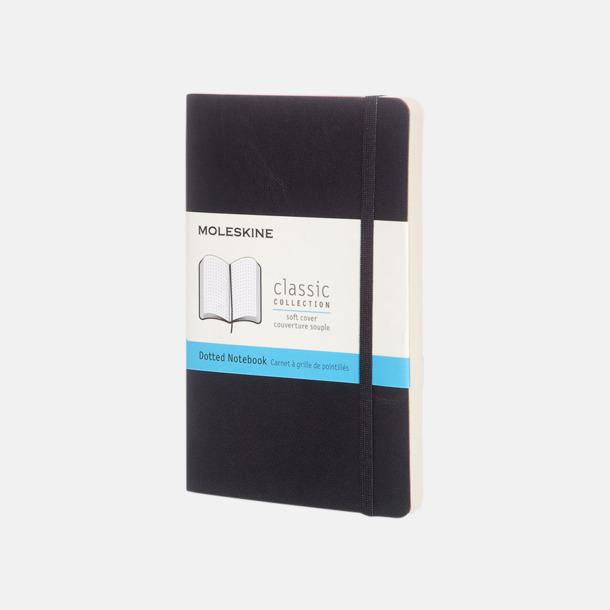 Svart (dotted) Moleskines mjuka anteckningsböcker i mindre format (ca A6) - med reklamtryck