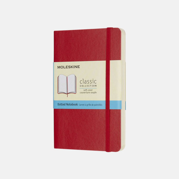 Scarlet Red (dotted) Moleskines mjuka anteckningsböcker i mindre format (ca A6) - med reklamtryck