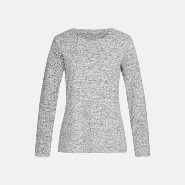 Light Grey Melange (dam) Stickade tjocktröjor med reklamlogo