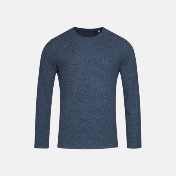 Marina Blue Melange (herr) Stickade tjocktröjor med reklamlogo