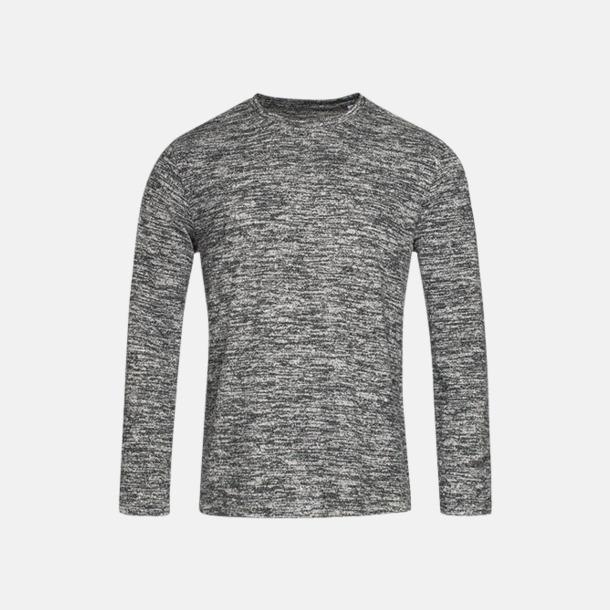 Dark Grey Melange (herr) Stickade tjocktröjor med reklamlogo