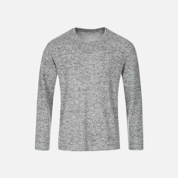 Light Grey Melange (herr) Stickade tjocktröjor med reklamlogo