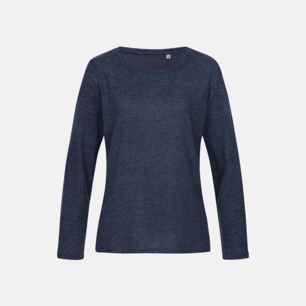 Marina Blue Melange (dam) Stickade tjocktröjor med reklamlogo