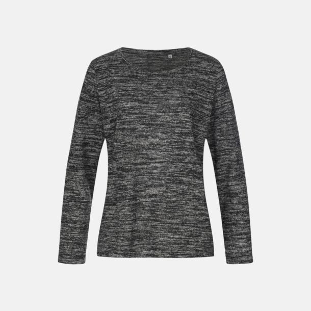 Dark Grey Melange (dam) Stickade tjocktröjor med reklamlogo