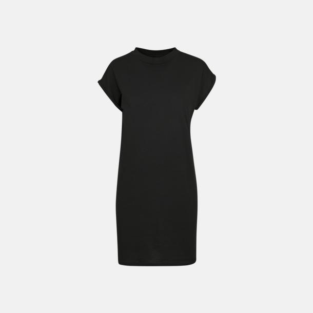 Svart T-shirt klänningar med reklamtryck