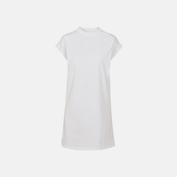 Vit T-shirt klänningar med reklamtryck
