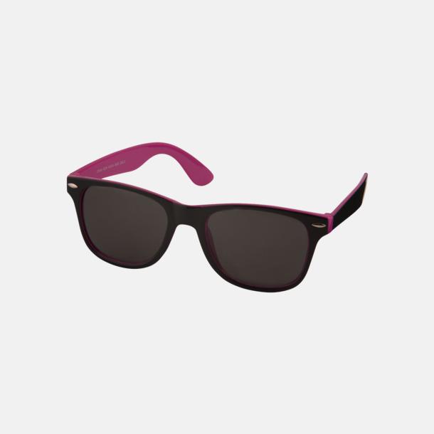 Rosa / Svart Solglasögon med bågar i kontrasterande färg - med reklamtryck
