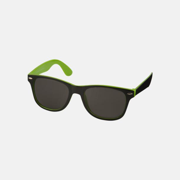 Limegrön / Svart Solglasögon med bågar i kontrasterande färg - med reklamtryck