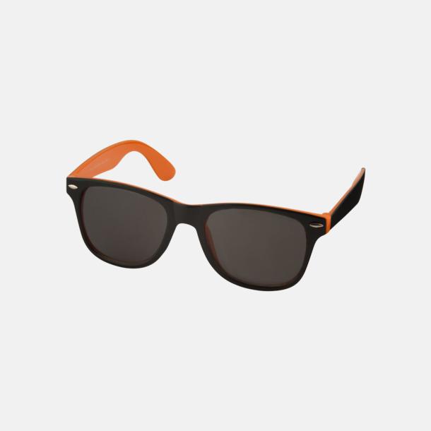 Orange / Svart Solglasögon med bågar i kontrasterande färg - med reklamtryck