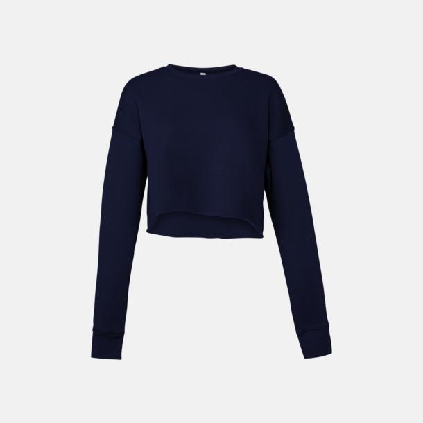 Marinblå Korta damtröjor med reklamtryck
