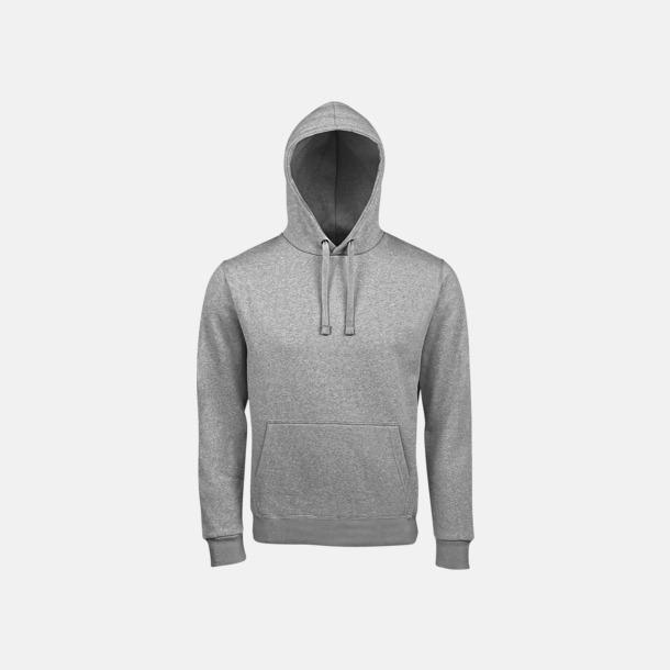 Grey Melange Mjuka huvtröjor med reklamtryck