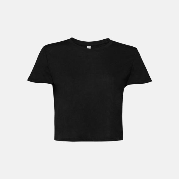 Svart Lössittande, korta t-shirts med reklamtryck