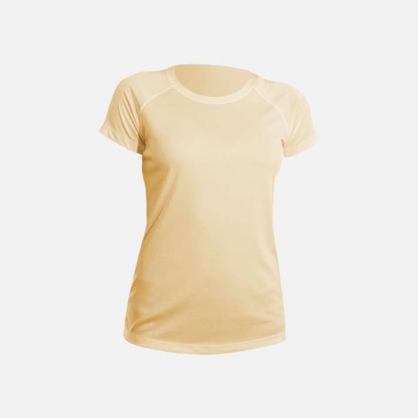Pale Yellow (dam) Fina sport t-shirts med reklamtryck