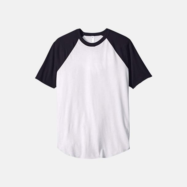 Vit / Marinblå T-shirts med reklamtryck