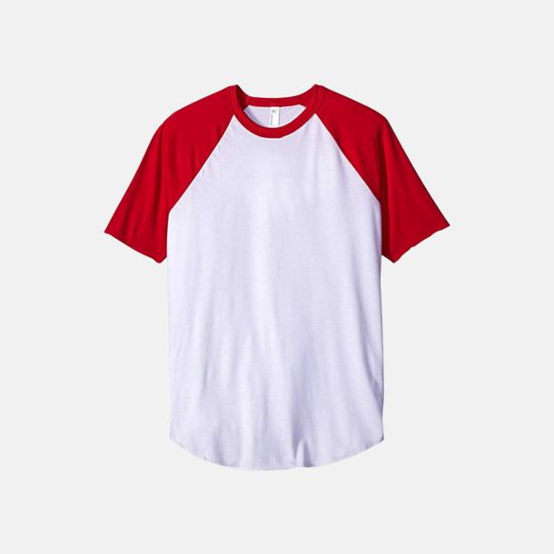 Vit / Röd T-shirts med reklamtryck