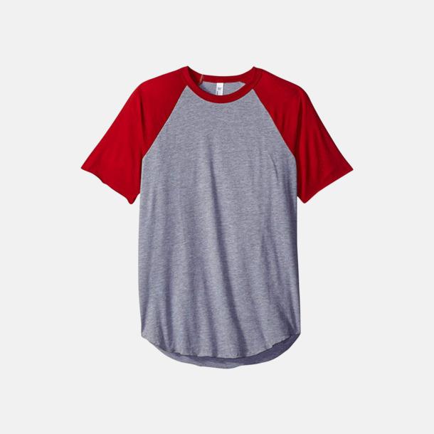 Heather Grey/Röd T-shirts med reklamtryck