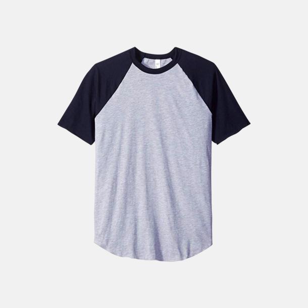 Heather Grey/Marinblå T-shirts med reklamtryck