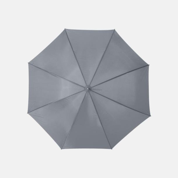 Grå Enfärgade eller randiga golfparaplyer med reklamtryck