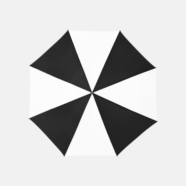 Svart / Vit Enfärgade eller randiga golfparaplyer med reklamtryck