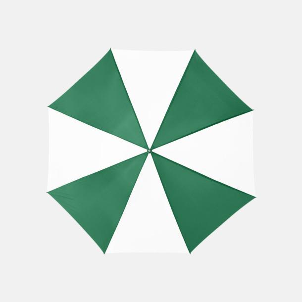 Grön / Vit Enfärgade eller randiga golfparaplyer med reklamtryck