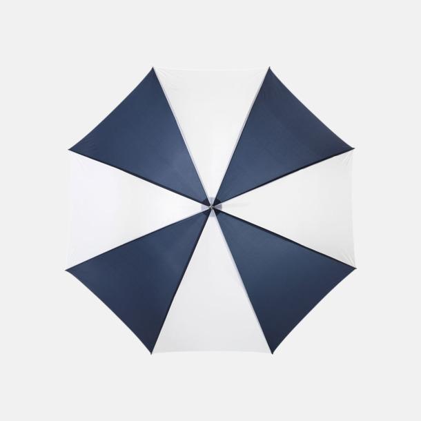 Marinblå / Vit Enfärgade eller randiga golfparaplyer med reklamtryck