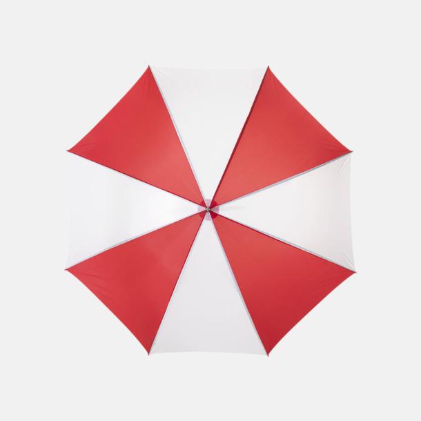 Röd / Vit Enfärgade eller randiga golfparaplyer med reklamtryck