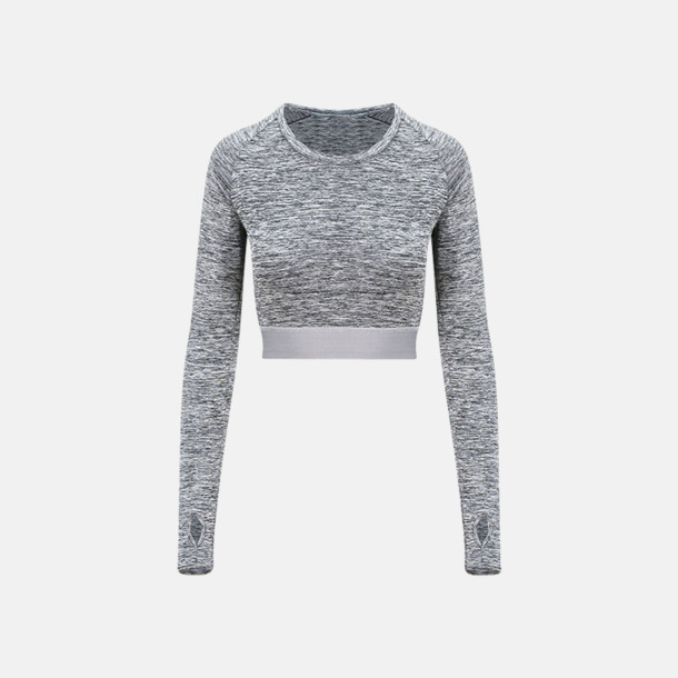 Grey Melange Crop top med reklamtryck