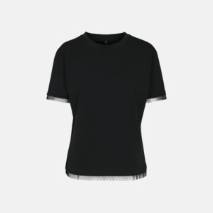 Spetsprydda dam t-shirts med reklamtryck