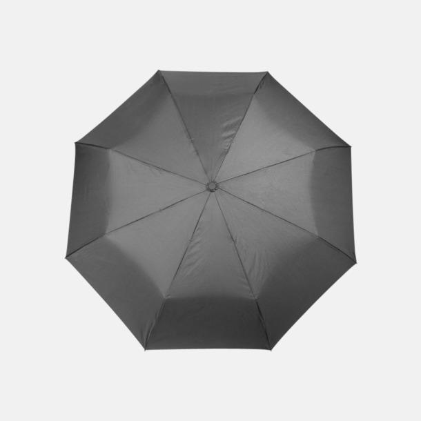 Svart Kompaktparaplyer med kontrstrem - med reklamtryck