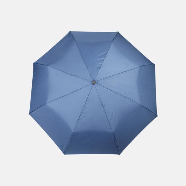 Marinblå Kompaktparaplyer med kontrstrem - med reklamtryck