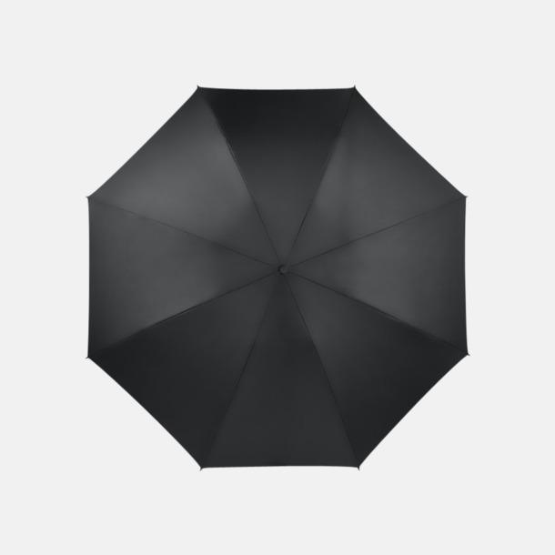Svart Vändbara kompaktparaplyer med reklamtryck