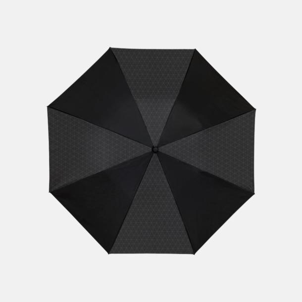 Svart 2-sektionsparaplyer med reklamtryck